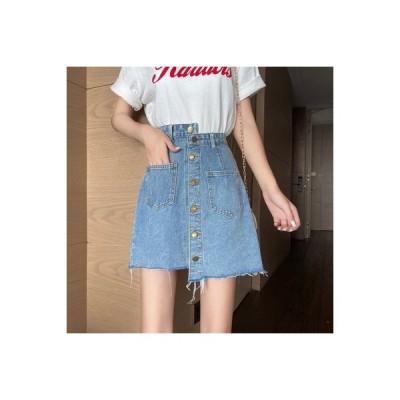 【送料無料】ハイウエストのスカート 夏 何でも似合う 不規則な  ヒップカバー デニ | 364331_A63309-9932028