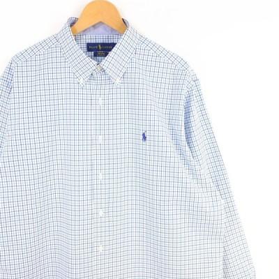 古着 大きいサイズ ラルフローレン 長袖ボタンダウンシャツ メンズUS-XLサイズ チェック柄 ホワイト×ブルー系 tn-0189n
