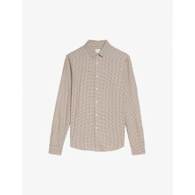 サンドロ SANDRO メンズ シャツ トップス Checked woven shirt BEIGE