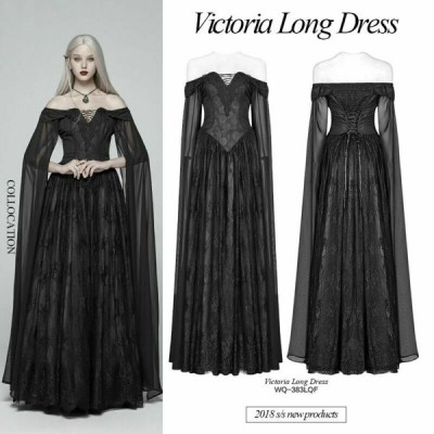 ドレス ゴシック パンク セクシー  Punk Rave Women Gothic Victoria Elegant Dress Women Black Cosplay Long Dress
