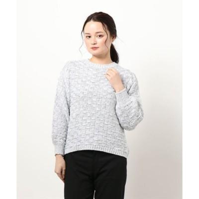 ニット コットンラメ柄編みボリューム袖ニット