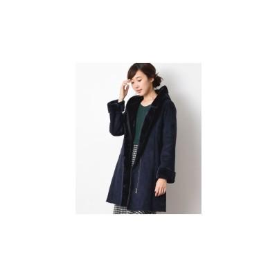 INTERPLANET フェイクムートンロングコート(ネイビー)【返品不可商品】