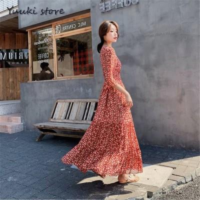 ワンピース レディース きれいめ 花柄 ドレス 上品 中袖 レースワンピース 着痩せ 結婚式ドレス お出かけ オシャレ