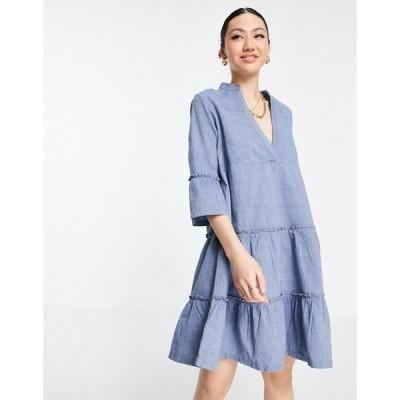 ヴェロモーダ Vero Moda レディース ワンピース ミニ丈 ワンピース・ドレス chambray smock mini dress in blue ブルー