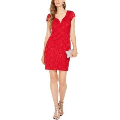 コネクテッド ワンピース トップス レディース Sequined Lace Sweetheart Sheath Dress Red