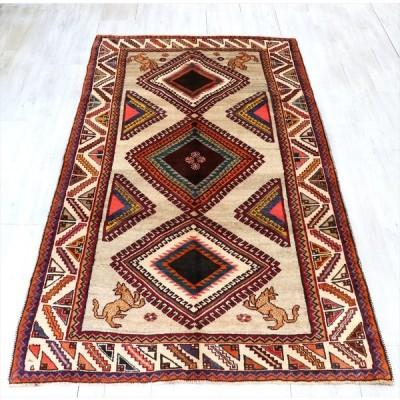 部族絨毯・トライバルラグ/カシュカイ族220x124cm 入り組んだ爪を持つ大きな3つのメダリオン