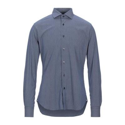 XACUS 柄入りシャツ  メンズファッション  トップス  シャツ、カジュアルシャツ  長袖 ブルー