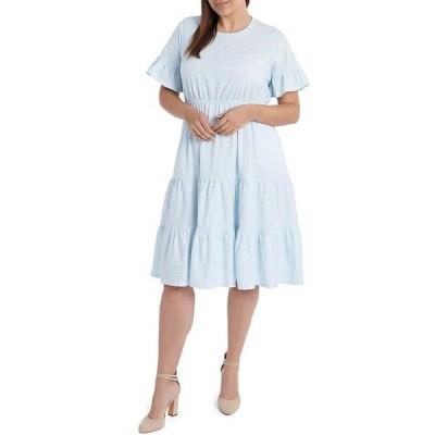 セセ レディース ワンピース トップス Plus Size Short Sleeve Ruffled Floral Knit Midi Dress