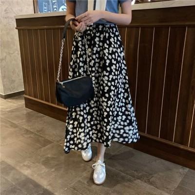 ハイウエスト Aラインスカート フレアスカート 花柄 きれいめ トレンド 可愛い 上品 エレガント フェミニン ウエストゴム デイジー ブラック