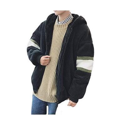 フリースジャケット OUYe ボアジャケットメンズ モッズコート アウター 裏起毛 モコモコ 厚手 スプライス フード付き 暖かい 冬 ゆったり 柔ら