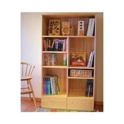 家族の本棚  幅88×奥行38.7×高さ155cm 日本製 手作り 自然素材 自然塗料 収納 子ども家具 高知県 なかよしライブラリー