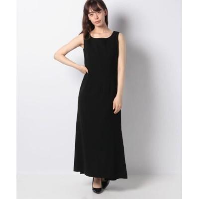 La Festa chic/ラフェスタシック ダブルクレープ ロングドレス ブラック 13