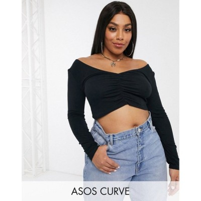 エイソス ASOS Curve レディース トップス ASOS DESIGN Curve top with v-front and back and ruched detail in black ブラック