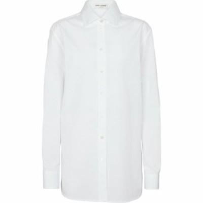 イヴ サンローラン Saint Laurent レディース ブラウス・シャツ トップス Oversized cotton poplin shirt Blanc