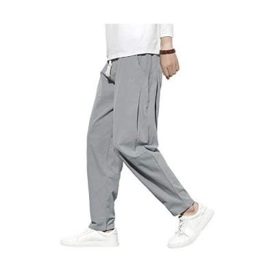 ズボン メンズ ゆったり オールシーズン対応 リネン サルエルパンツ メンズ 大きいサイズ イージーパンツ メンズ ワイドパンツ(グレー XL)
