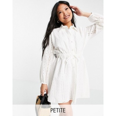 リバーアイランド River Island Petite レディース ワンピース ミニ丈 シャツワンピース drawstring broderie mini shirt dress in white ホワイト