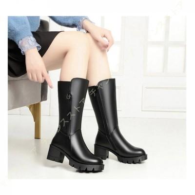 レディース ロングブーツ ブーツ 本革 大きいサイズ 防寒 大きい 筒周り ローヒール ふくらはぎ ゆったり ブーツ 疲れない 厚底 履き口 ゆったり ブーツ