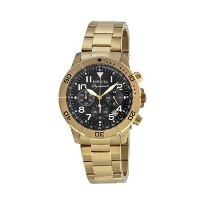 インビクタ シグネイチャ II クロノグラフ ブラック ダイヤル ゴールドトーン メンズ 腕時計 7470