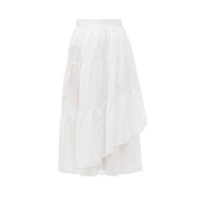 マーレット Merlette レディース ひざ丈スカート ラップスカート ティアードスカート スカート Hallerbos tiered wrap cotton-lawn midi skirt White