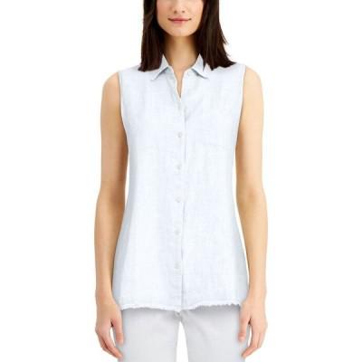 チャータークラブ Charter Club レディース ブラウス・シャツ トップス Petite Button-Up Fringed-Hem Shirt Bright White