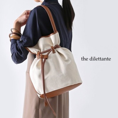 **【20SSコレクション】the dilettante〔ザ ディレッタント〕DL19871FLOW DRAWING BAG/ツイルキャンバス×レザードロストワンハンドル巾着バッグ