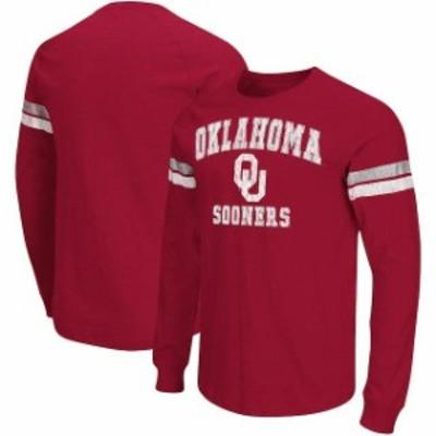 Colosseum コロセウム スポーツ用品  Colosseum Oklahoma Sooners Crimson Huddle Up II Striped Long Sleeve T-Shirt