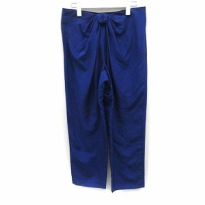 【中古】エンポリオアルマーニ パンツ テーパード ロング シルク リボンモチーフ 40 青 ブルー /YO3 レディース
