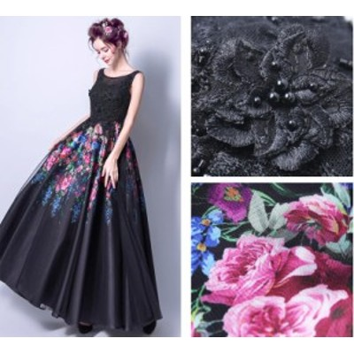 パーティードレス ブラック 素敵 プリント花柄 ドレス セクシー Aライン 結婚式 二次会 お呼ばれ ロングドレス フォーマルドレス