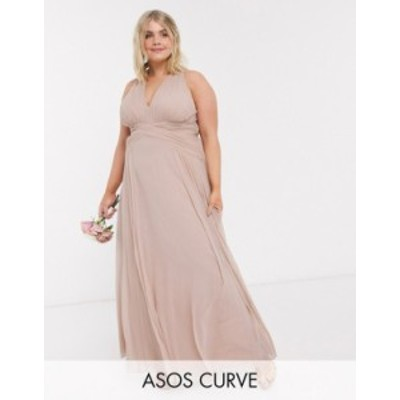 エイソス レディース ワンピース トップス ASOS DESIGN Curve bridesmaid ruched bodice drape maxi dress with wrap waist Blush