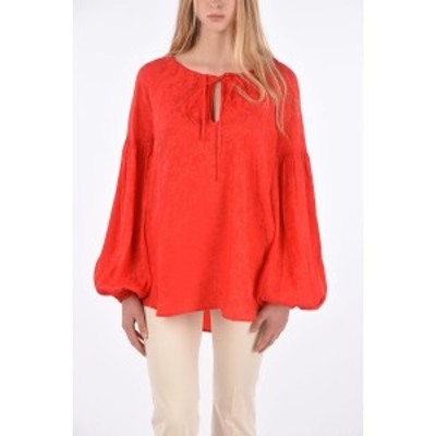 WANDERING/ワンダリング Red レディース Floral Oversized Blouse with Long Lantern Sleeves dk