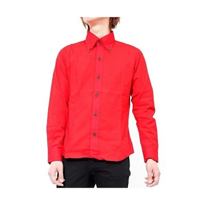 長袖シャツ メンズ 無地 ボタンダウンシャツ ブロード デュエ ドレスシャツ 日本製 国産 LL レッド(6)