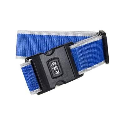 [RADISSY] スーツケースベルト 3桁ダイヤル式 トランクベルト 盗難防止 ワンタッチ サイズ調整可 (グレー/ブルー)