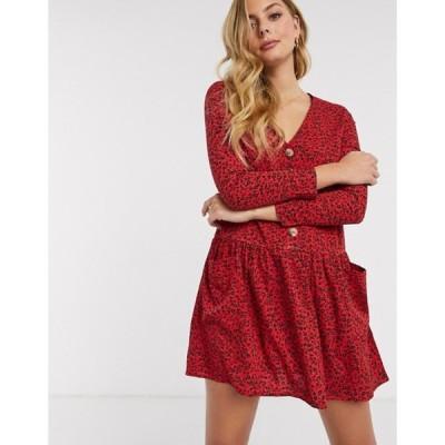 インフルエンス レディース ワンピース トップス Influence button front smock dress in red ditsy floral