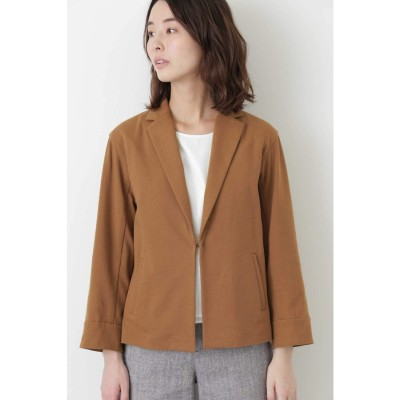 ◆変形ワッフルテーラードショートジャケット キャメル1
