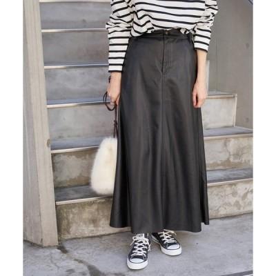 スカート フェイクレザーAラインスカート