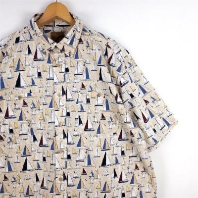 古着 大きいサイズ IVY CREW 半袖ボタンダウンシャツ メンズUS-XLサイズ ベージュ ヨット 船 総柄 オールオーバー デザインシャツ 90's 00's sh-3428n