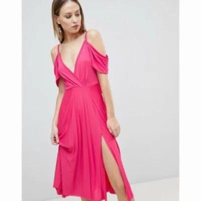 エイソス ワンピース DESIGN cold shoulder cowl back pleated midi dress Raspberry