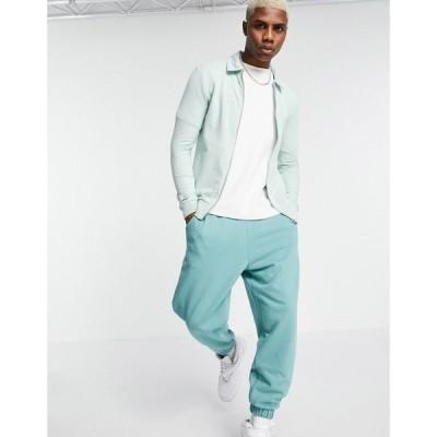 エイソス ASOS DESIGN メンズ ジャケット スイングトップ アウター muscle jersey harrington jacket in mint green