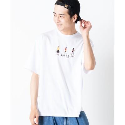 (WEGO/ウィゴー)WEGO/ヒューマン刺繍半袖Tシャツ/ユニセックス ホワイト