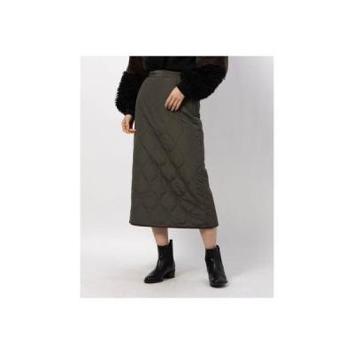 リシェグラマー Riche glamour 高密度タフタキルティングタイトスカート (カーキ)