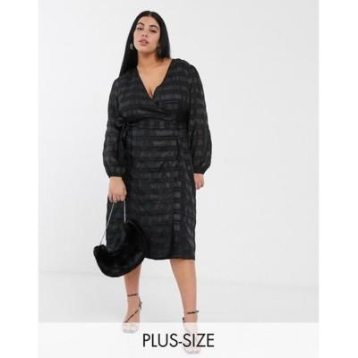 グラマラス レディース ワンピース トップス Glamorous Curve midaxi wrap dress with volume sleeves in organza check