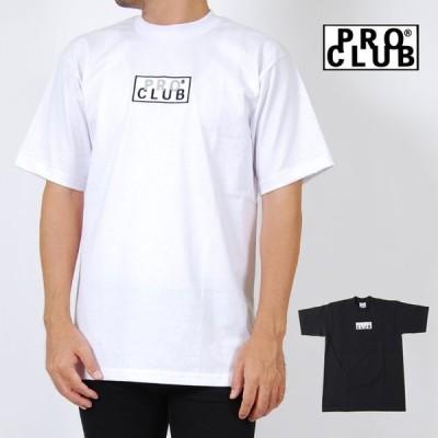 PRO CLUB プロクラブ ボックスロゴ Tシャツ 半袖 メンズ レディース M L XL 2XL サイズ ホワイト ブラック HEAVYWEIGHT S/S EMBROIDERED BOX LOGO T-SHIRTS SNOW