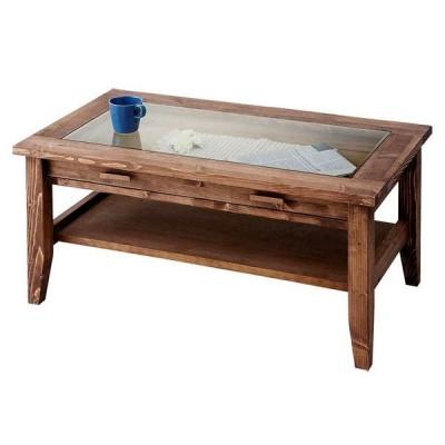 センターテーブル コレクションテーブル ガラス天板・引出し付 ROUEN カントリー パイン無垢材