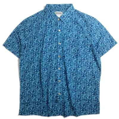 [SALE]ハバンド バティック プリント ハワイアン シャツ オーシャン メンズ/アロハシャツ/半袖シャツ