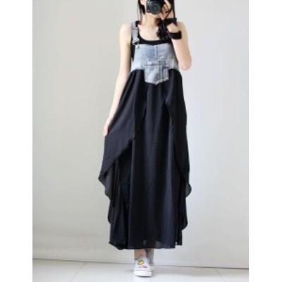 デニム ドッキング サロペットスカート 異素材MIX ノースリーブ ロング カジュアル aya1496