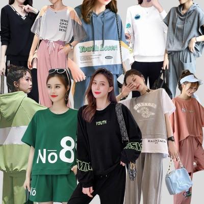 「04/15 新作追加 」春夏 韓国ファッションスウェット 上下 セット ジャージ 上下セット レディース 長袖 スポーツウェア セットアップ 2点セット 高品質