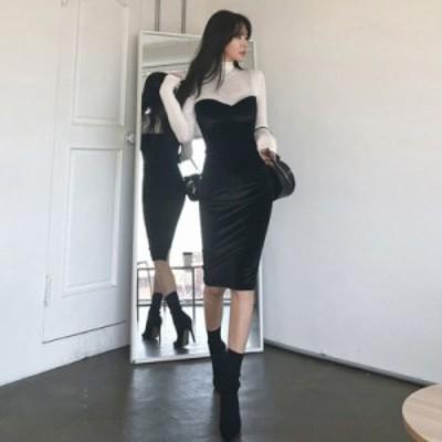 新作 韓国ファッション エレガント レディース 長袖 セクシー タイトワンピース 夜店 胸元 気質 スリム ドレス スレンダー パーティード