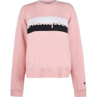 チャンピオン Champion レディース スウェット・トレーナー トップス woven logo sweatshirt Pink