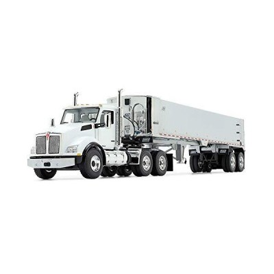 First Gear 1/50 Scale Diecast Collectible White/Chrome Kenworth T880 with East Genesis End Dump Trailer (50-3454)_並行輸入品