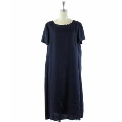 【中古】未使用品 アマカ AMACA Athena New York ワンピース ロング 半袖 刺繍 花柄 紺 38 /DK16 レディース